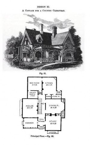 Page from Victorian Cottage Residences by  Andrew Jackson Downing that Josiah Willard based Rest Cottage off of.