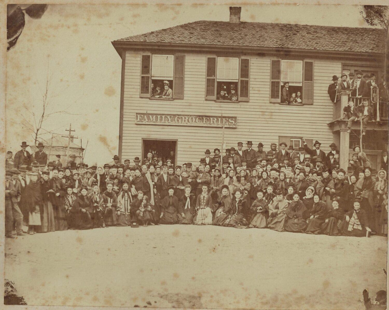 Crusaders outside saloon