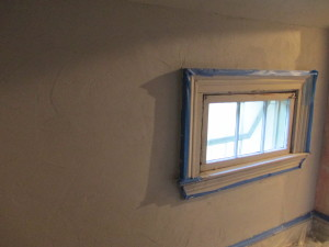 Repaired, but not finished plaster wall.