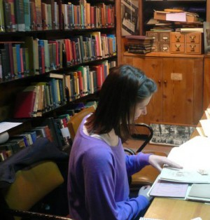 DePaul student working in the Library