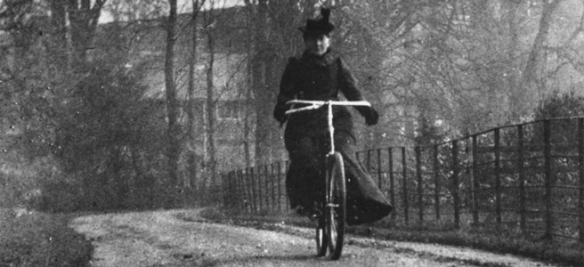 Frances Willard riding her bicycle, Gladys