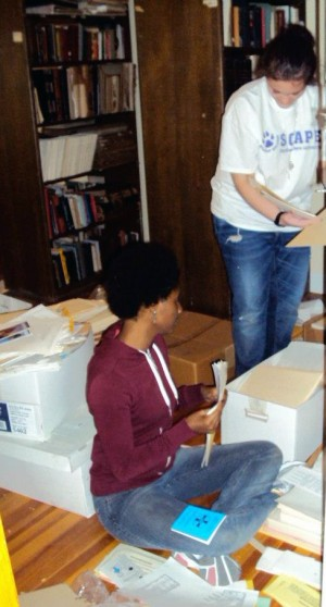 Northwestern students volunteering in the archives